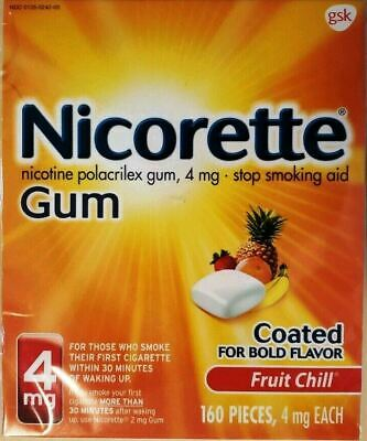 Nicorette Gum 4mg Fruit Chill 160 Pieces Stop Smoking Aid Exp 04/2021