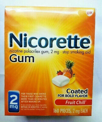 Nicorette Gum 2mg Fruit Chill 160 Pieces Stop Smoking Aid Exp 05/2021