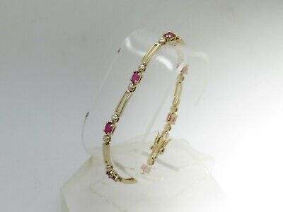 "Pink Spinel w/ Diamond Chip Two Tone 925 Sterling Silver Tennis Bracelet 7.75"" E"
