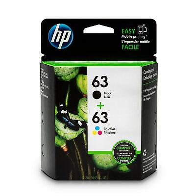 HP 63 New Genuine Ink Cartridges 2 Pieces - Black and Tri-Color