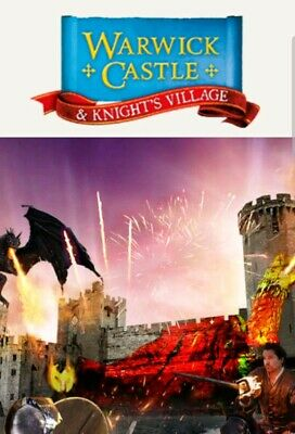 2 X WARWICK CASTLE Tickets - tuesday 3rd Sept 2019