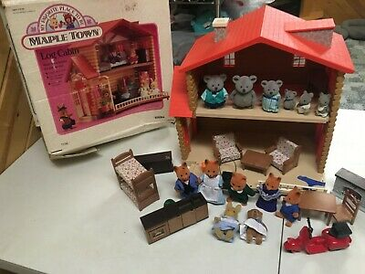 Tonka Maple Town Log Cabin Calico Critters House Loaded W Animals Furniture ++