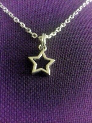 Little GIRLS Silver Plated STAR Cable Chain NECKLACE Pretty Open Pendant Gift