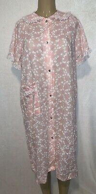 Merville Womens Pink Floral Snap Front Nightgown Lace Muu Muu House Coat Size M