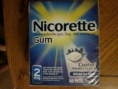Nicorette Nicotine Gum 2mg White Ice Mint (160 ct) Exp 06/21 - BNIB & Sealed