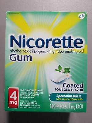 Nicorette Nicotine Gum 4mg Spearmint Burst (160 ct) Exp 06/2020 - BNIB & Sealed