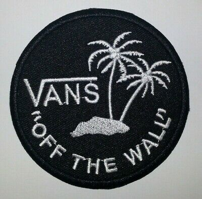 """VANS """"Off the Wall"""" Embroidered Patch~BLACK~3 1/8""""~Ski Skateboard~Iron or Sew On"""