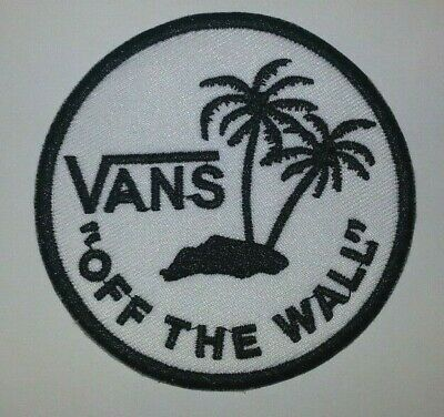 "VANS ""Off the Wall"" Embroidered Patch~WHITE~3 1/8""~Ski Skateboard~Iron or Sew On"