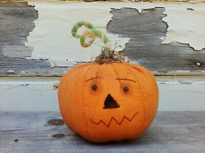 Halloween Primitive Grungy Orange Pumpkin Shelf Sitter Decor Ornie