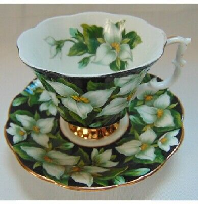 Royal Albert England Teacup & Saucer Flora Series Trillium Black, White Flowers
