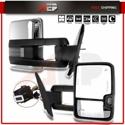 Pair Towing Mirrors Power Heat Clearance Signal Chrome Side for Chevy GMC 99-02