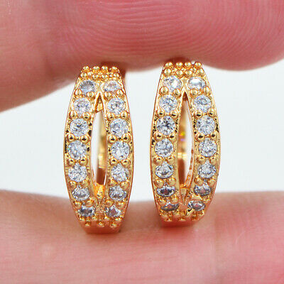 18K Yellow Gold Filled Women Stylish Two Rows Clear Topaz Zircon Huggie Earrings