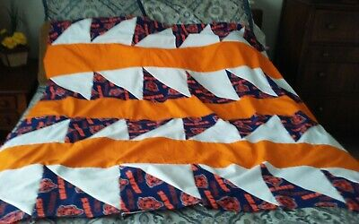 """Quilt top unfinished, cotton 55x62""""triangles blue, orange, white,  ship free"""