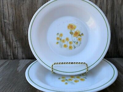 Arcopal ARP3 Yellow Flowers Rimmed Milk Glass Soup, Chili, Pasta Bowls Set Of 2