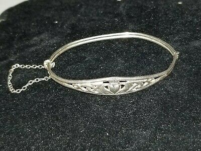 antique claddagh bangle bracelet sterling silver *WOW* 2.7 inches wide