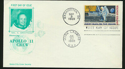 C76 Moon Landing Cachet 1969 Dual Cancel UA ARMSTRONG  First Day Cover LOTc7192