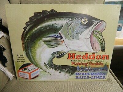 Heddon's Frogs Fishing Tackle Vintage Retro Tin Metal Sign 16 x 12in