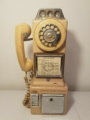 Vintage Automatic Electric Co. LPB-82-55 Pay Phone 3 Coin Slot Rotary Dial