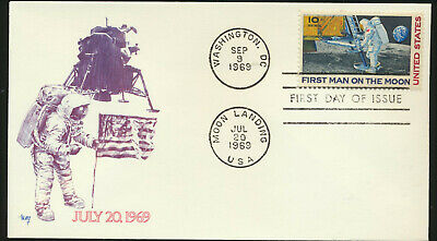 C76 Moon Landing Cachet 1969 Dual Cancel UA MARG First Day Cover LOTc71910