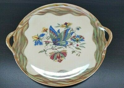 Vintage RS Germany Handled Plate Butterfly & Floral2