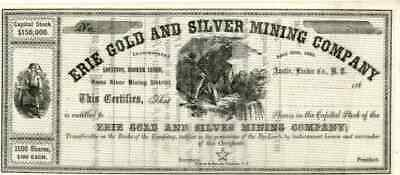 186_ Erie Gold & Silver Mining Stock Certificate