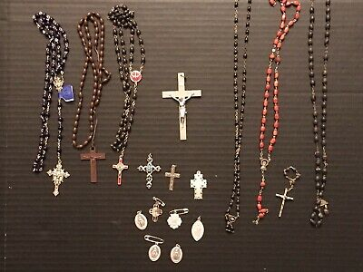 LOT Vintage religious cross medal crucifix Rosary Jesus Crosses Christ Jewelry