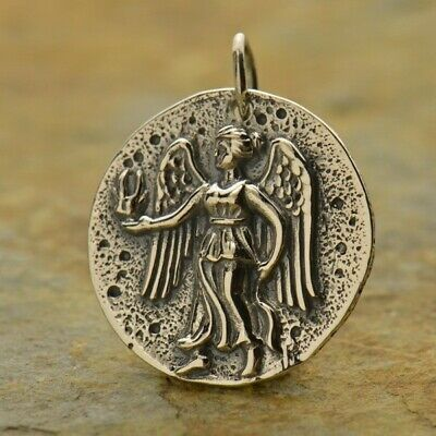 Ancient Coin Charm Angel Sterling Silver Roman Goddess Victoria Necklace 1290