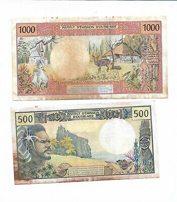 French 1960'S Overseas Territories 500 Francs & 1000 Francs Banknotes