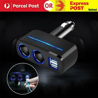 2 Way Car Cigarette Lighter Charger Adapter 12-24V Dual Socket Splitter 3.1A