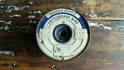 Vintage Western Electric Switchboard Wire Yellow Wire On Metal Spool