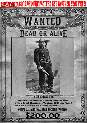 Old West Wanted Poster Outlaw Kid Ok  Western Bandit Reward