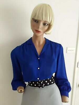 KATIES Vintage 80s Blue Sheer L/S Blouse with Pearl Buttons Size S-M