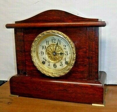 Antique 8 Day Seth Thomas Adamantine Mantle Chime Clock Clean Working Art Noveau