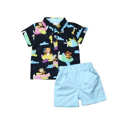 Infant Toddler Kids Baby Boy Summer Clothes Animal T-Shirt+Shorts Outfits Sets