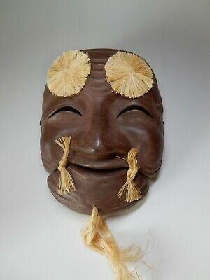 Antique Japanese paper mache Lacquered Wealth Okina Theater Play Bugaku Mask