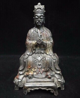 """Old Chinese Ming Dynasty Officer """"HaiRui"""" Bronze Buddha Statue Figure Sculpture"""
