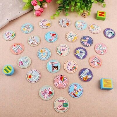 Letter Badge Embroidered Iron on Patch Children Name Tags Emblems Round Alphabet