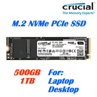 Crucial P1 M.2 NVMe PCIe Solid State Drive 500GB, 1TB SSD for Laptop Desktop PC