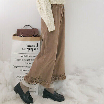 Womens Corduroy Loose Pants Girls Japanese Style Ruffles Cropped Casual Trousers