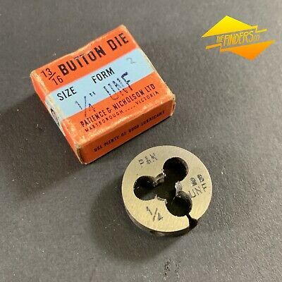 "*Near New* P&N 1/4"" X 28 Unf Button Die 13/16"" Diameter Australia #2 P&Nbd1"