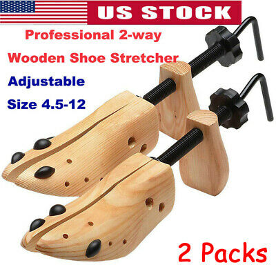Adjustable Wooden Shoe Shaper Unisex Women Men 2-Way Shoe Stretcher Expander S-L