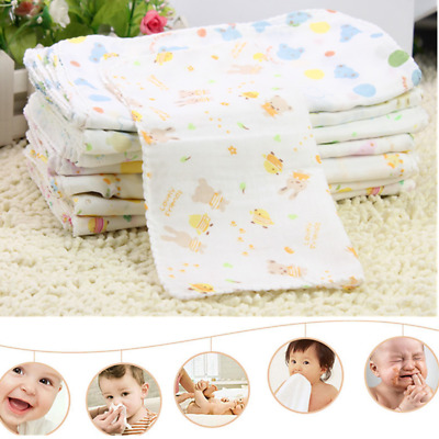 10Pcs Baby Newborn Gauze Muslin Square 100% Cotton Bath Wash Handkerchief Soft