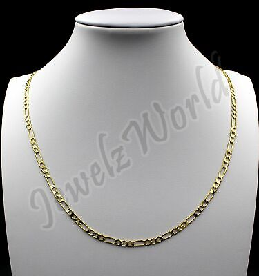 """10K Solid Yellow Gold Figaro Link Chain Necklace 2MM 16"""" 18"""" 20"""" 22"""" 24"""" 30"""""""