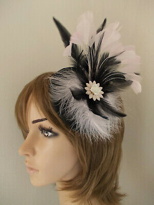 Black & Pale Pink fascinator feathers diamante flower hair clip