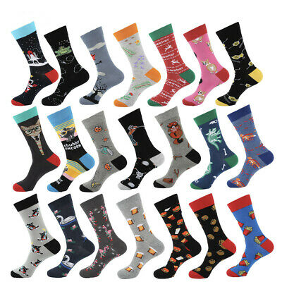 Mens Combed Cotton Socks Warm Novelty Animals Cartoon Funny Dress Socks For Gift