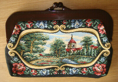 Vintage 70's tapestry clutch frame bag - in great condition