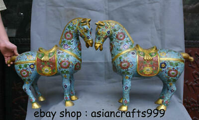 """18,8 """"alte China Cloisonne Emaille Feng Shui Tang Pferd Blume Glück Statue Paar"""