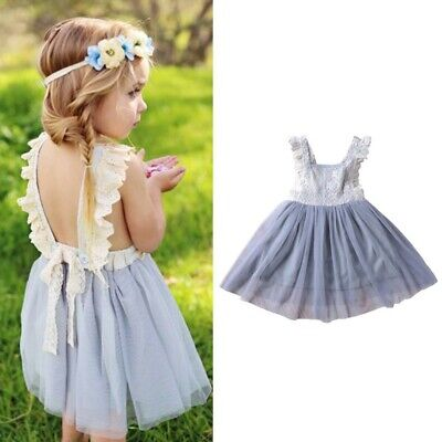 Baby Kids Girl Princess Lace Tulle Tutu Skirt Party Wedding Pageant Floral Dress