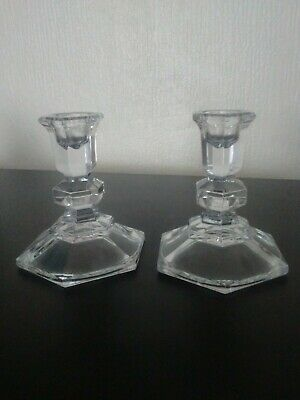 Pair Of Art Deco Candle Holders In Clear Pressed Glass