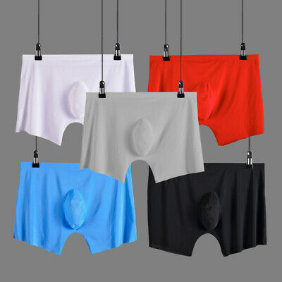 Men's Ice Silk Seamless Breathable Comfy Boxers Underwear Bulge Briefs Shorts an